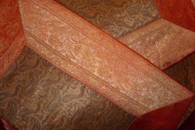 Orange/Beige Silk Bedding Set