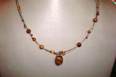 Earth-tone beaded necklace